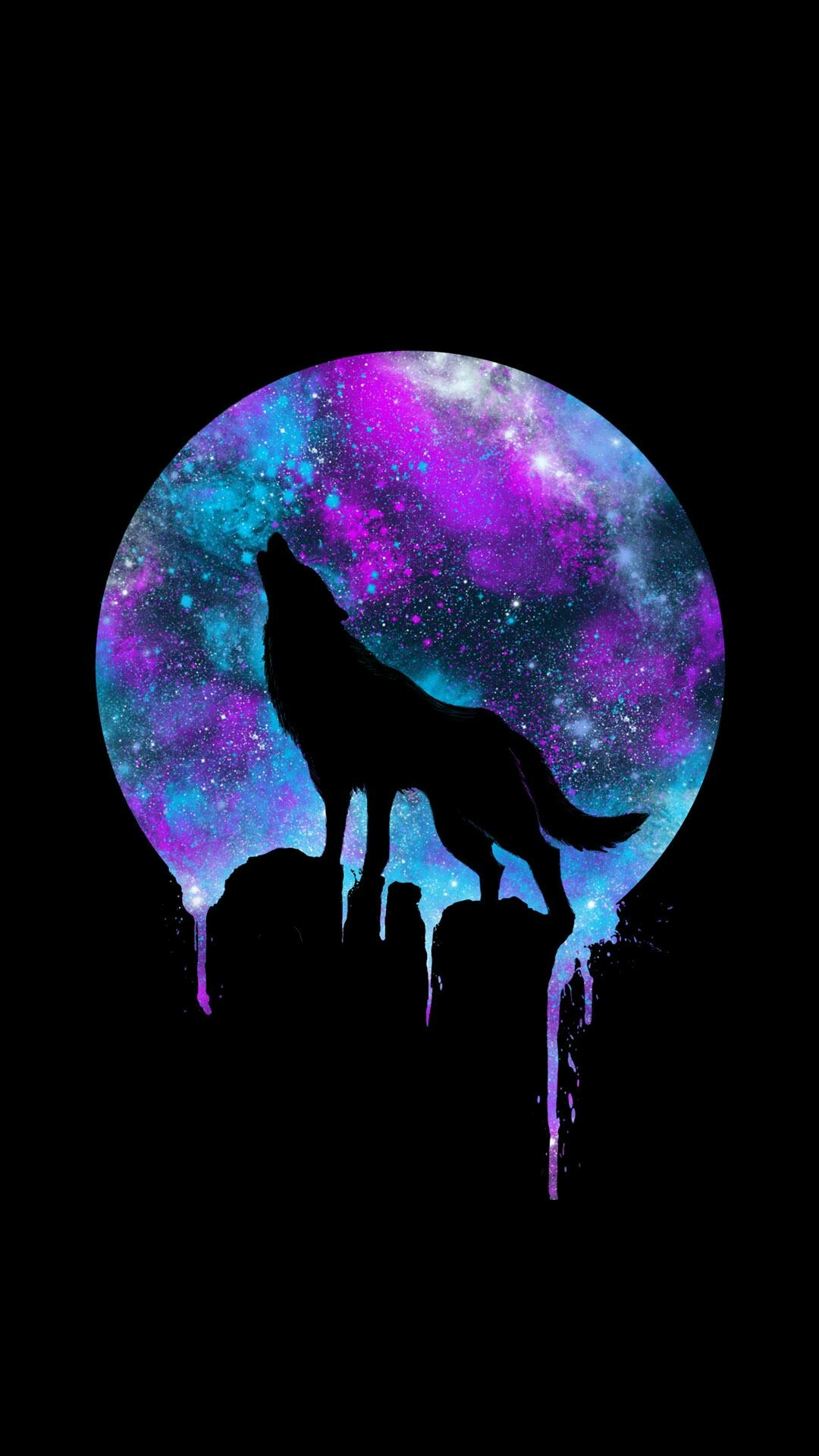 Black Wolf Howling Drawing Wolf Howling at the Mo...