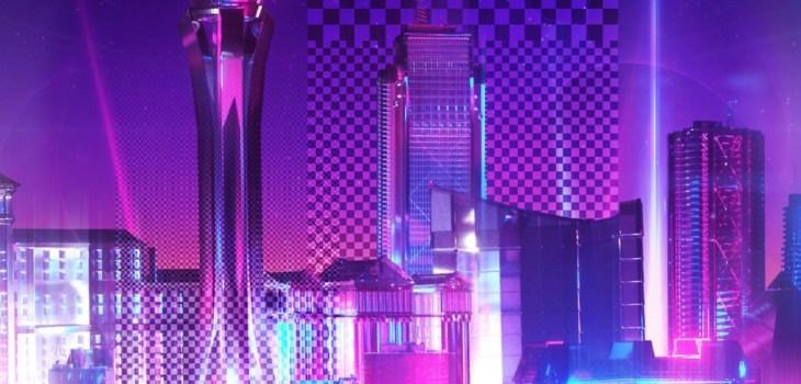 Neon City, Purple Racing Phone Wallpaper