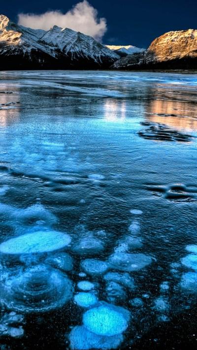 Wallpaper Abraham Lake, Canada, mountain, ice, 4k, Nature ...