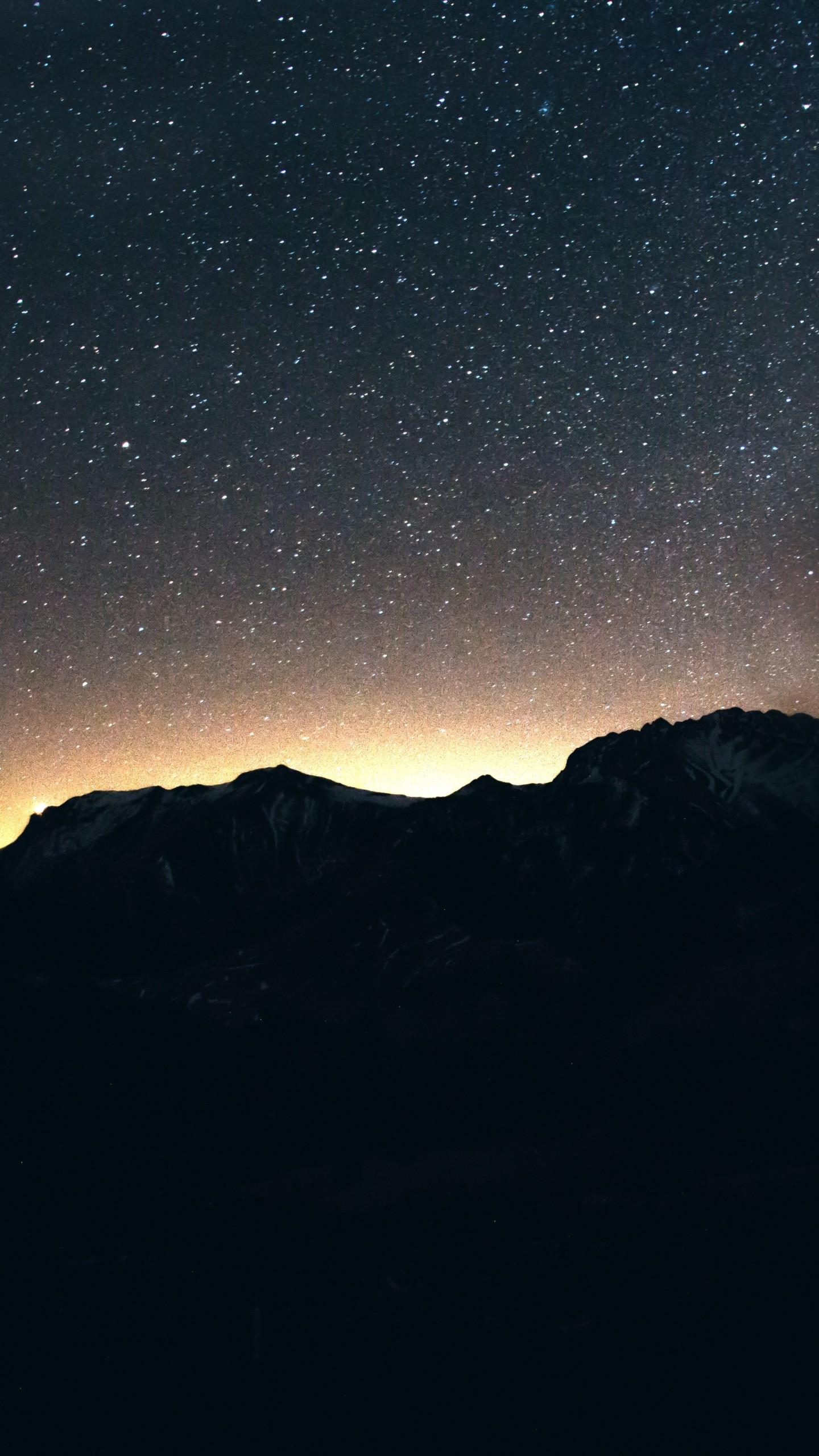 Wallpaper Night Sky Mountains 8k Nature 17040