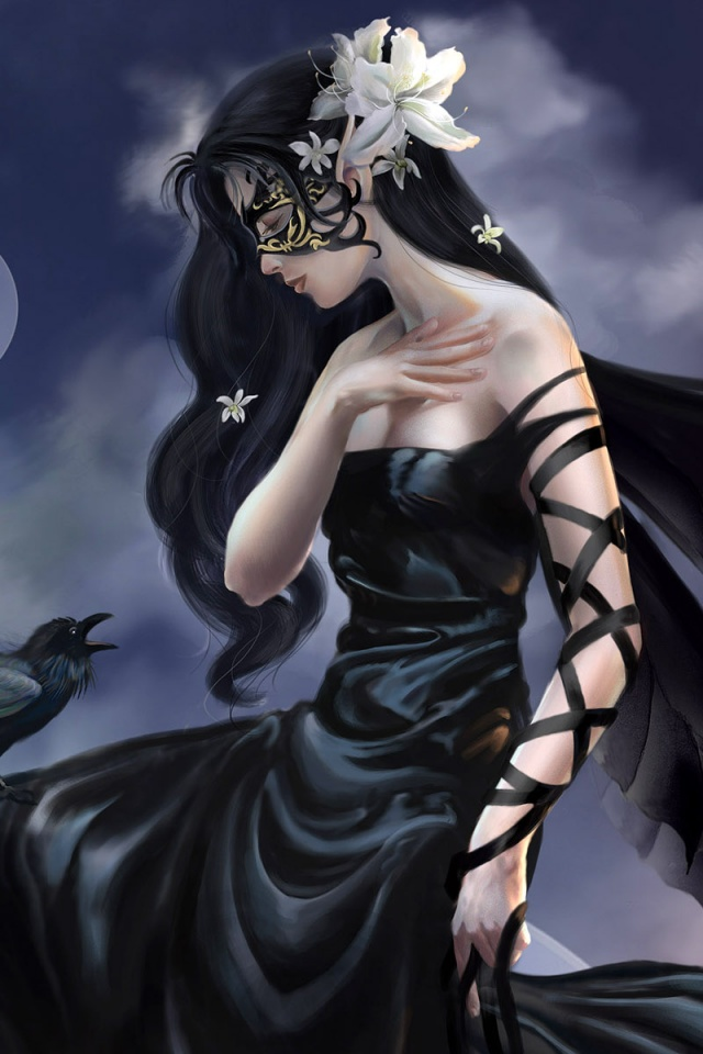 640x960 Fantasy girl  Raven Iphone 4 wallpaper