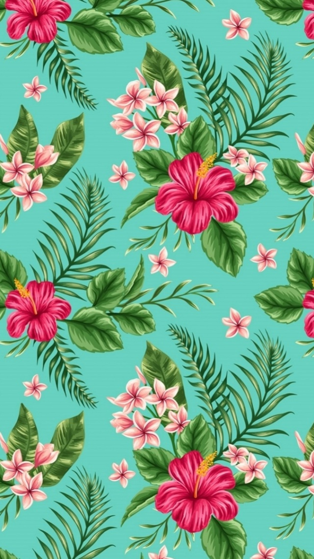 640x1136 Hibiscus Pattern Desktop PC And Mac Wallpaper