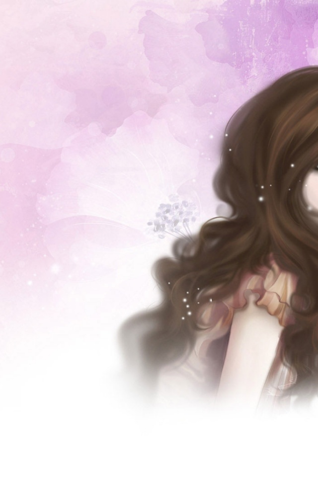 640x960 Pretty Cartoon Girl Iphone 4 wallpaper