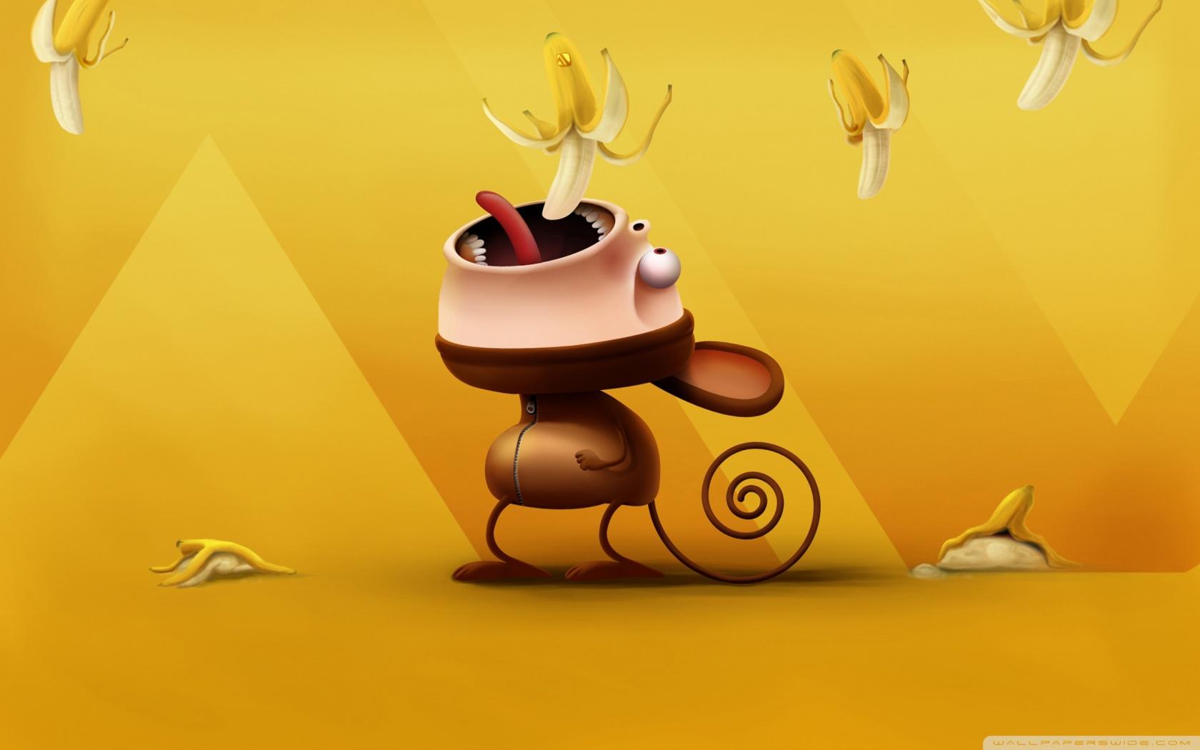 funny monkey eating bananas ❤ uhd desktop wallpaper for ultra hd