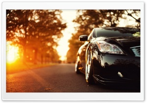 Black Infiniti Car On The Road