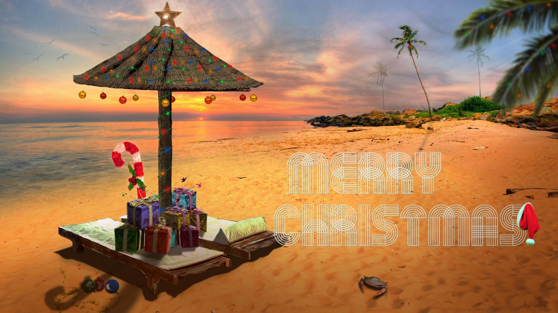 Christmas Beach Wallpaper