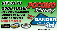 Contest- Get Our Facebook To 2,000 Likes To Win Gander 400 Tickets