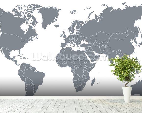 Grey World Map Wallpaper Wall Mural