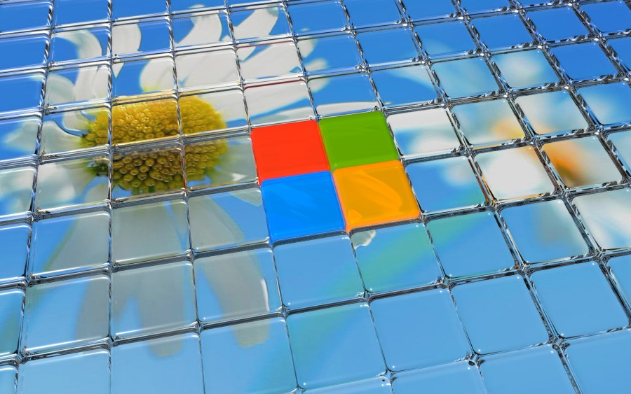 Flower And Windows 8 Logo In Glass 3D Wallpaper Free