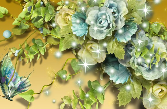 Free Download Beautiful Aqua Flowers On Gold Wallpaper