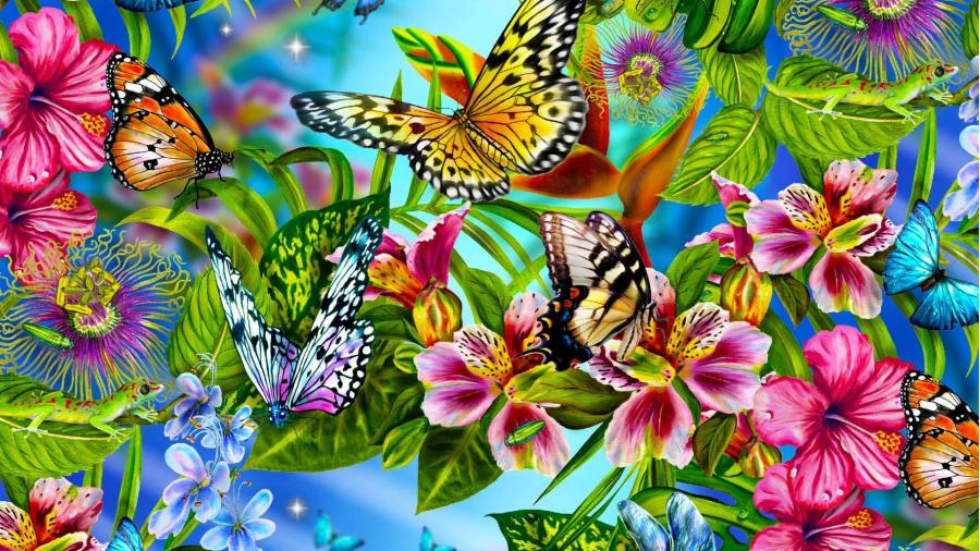 Butterfly Wallpaper Abstract Animals Flowers Leaves
