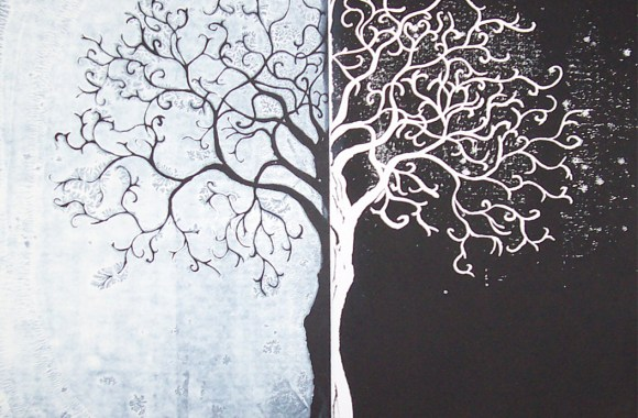 White And Black Art Tree Image Gallery