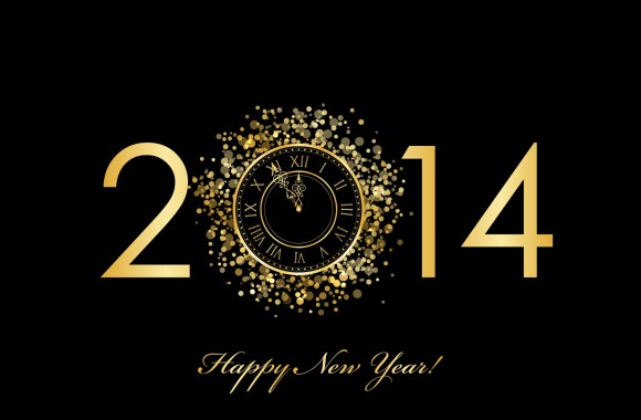 Happy New Year 2014 Gold HD Wallpapers Background Image