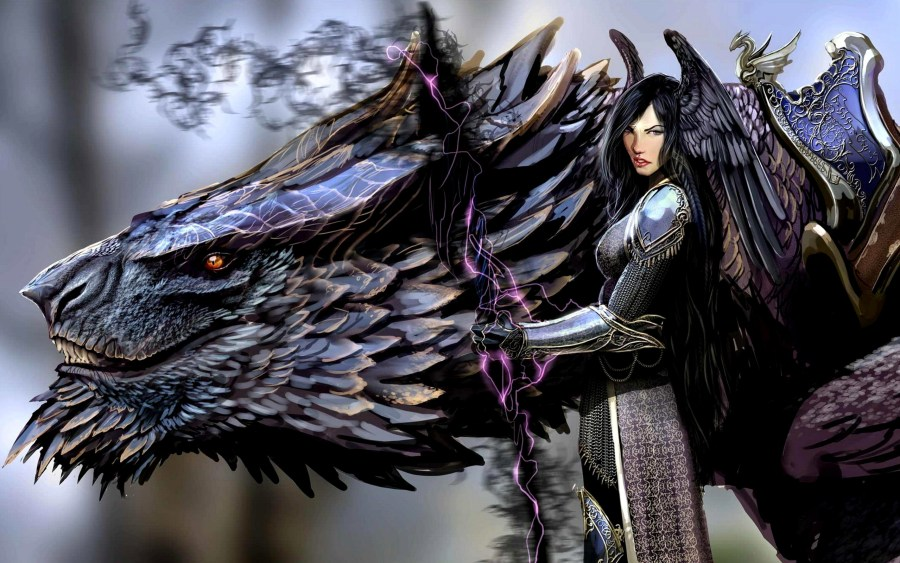 Amazing Dark Angel And Black Dragon Anime HD Wallpaper Picture Image