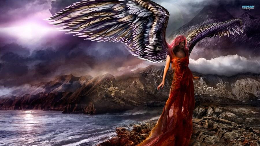 Beautiful Dark Red Angel HD Wallpaper Picture Image