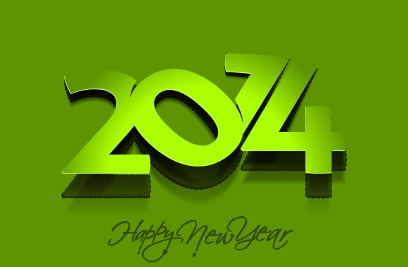 Green Happy New Year 2014 Simple Image HD Wallpaper Picture