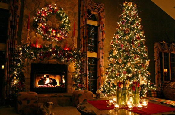 Beautiful Living Room With Christmas Tree Photo Picture HD Wallpaper