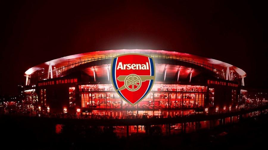 Beautiful Arsenal Logo And Emirates Stadium Image HD Wallpapers 2014