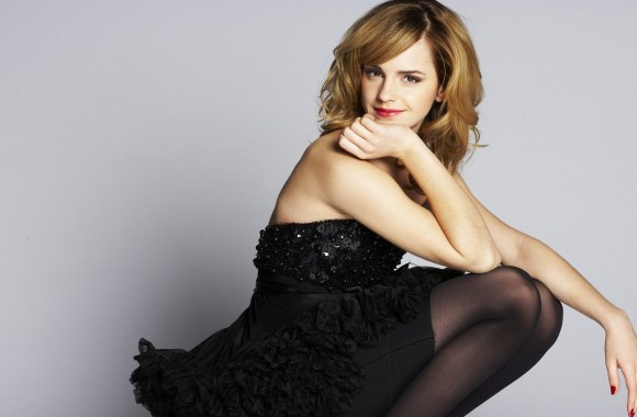 Emma Watson With Black Dress Photoshoot Background HD Wallpaper