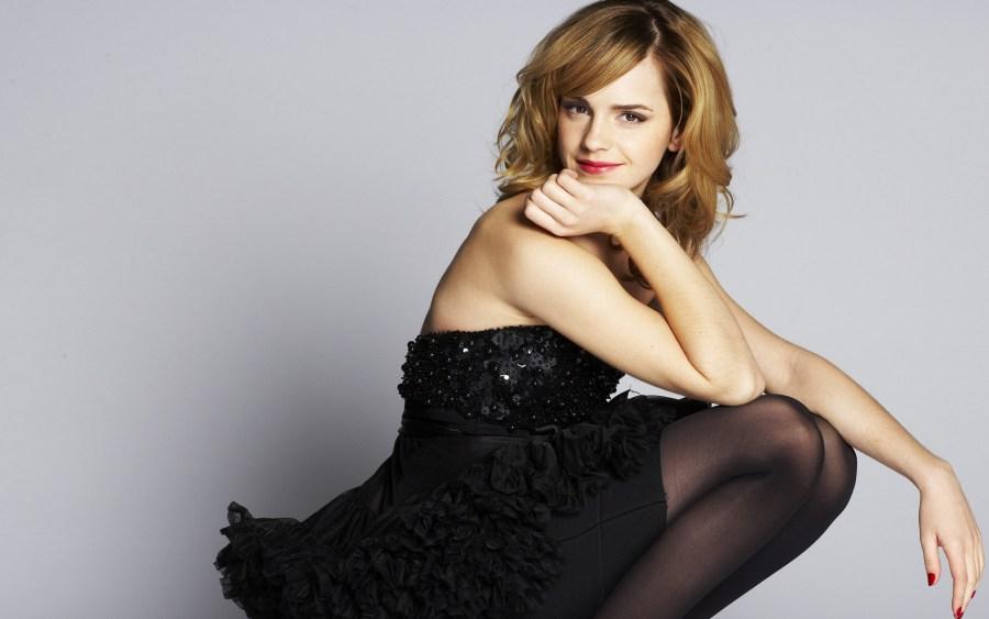 Emma Watson With Black Dress Photoshoot Background HD Wallpaper