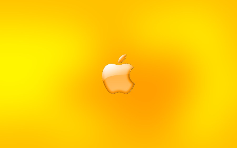 Yellow Apple Logo HD Wallpaper For PC Desktop And Mac Wallpaper