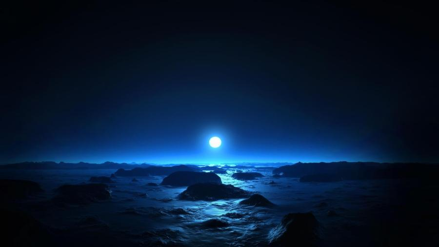 Moon over the Blue Waters