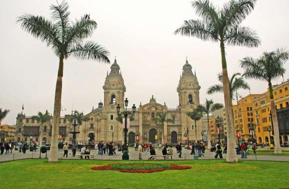 Plaza Mayor and The Cathedral in Lima HD Wallpaper