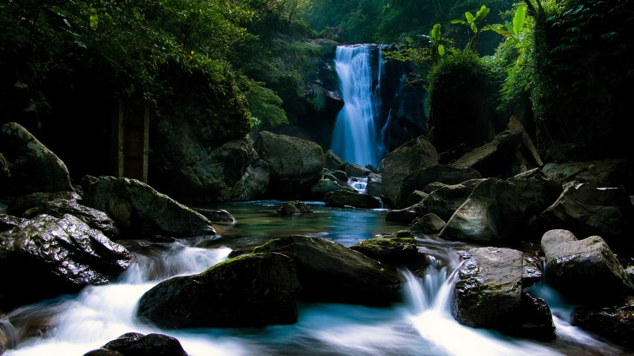 waterfall with rocks
