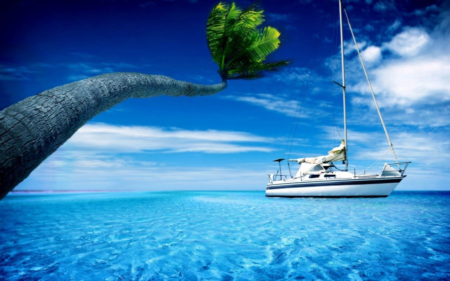 Anchored Sailboat in the Tropics
