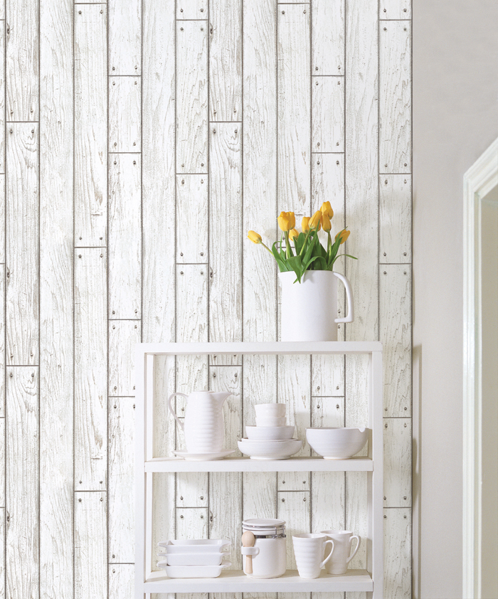 Shabby Panel White Wood Contact Paper Peel Stick Wallpaper