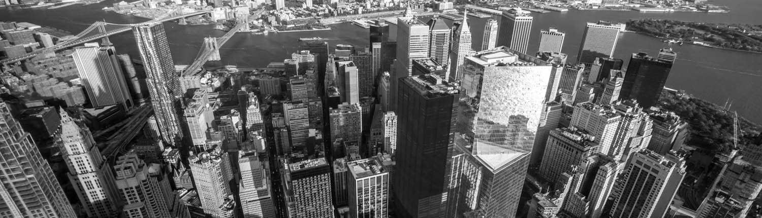 Downtown Manhattan view from top (B&W)