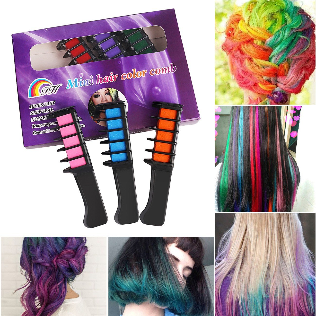 New 6X Temporary Hair Chalk Soft Pastels Cream Comb Brush Hair Ideas With Pictures