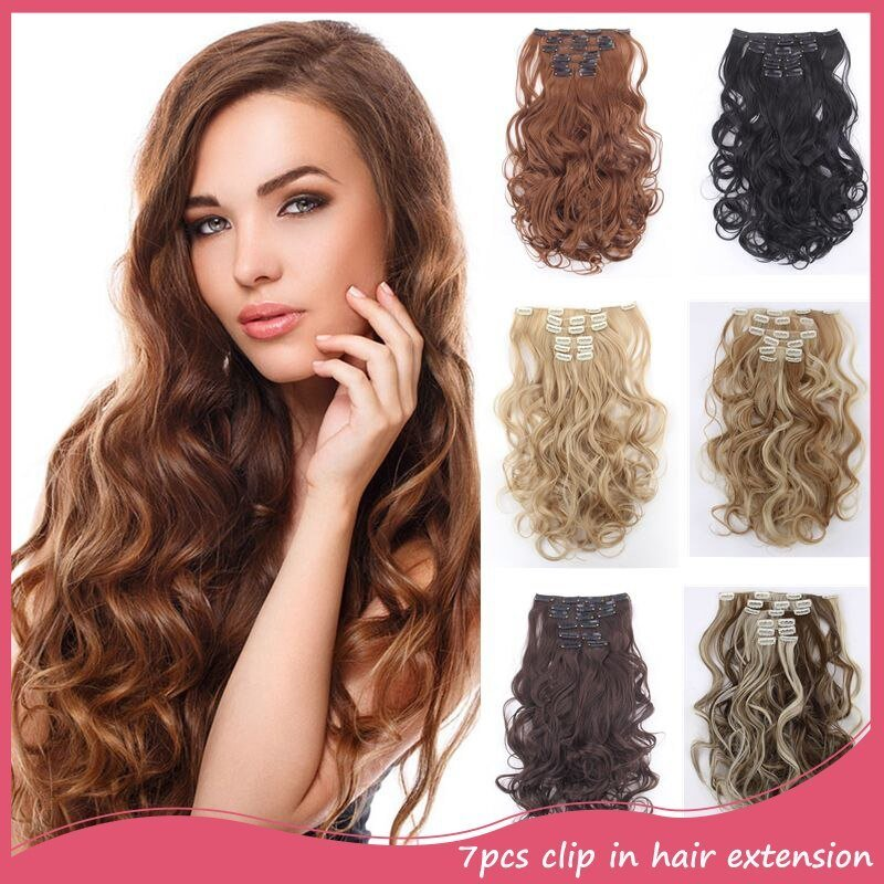 New 7Pcs Set Clip In Hair Extensions 20Inch 50Cm Curly Wavy Ideas With Pictures