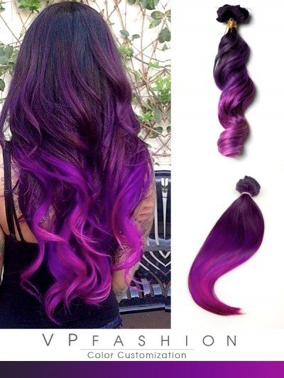 New Purple Ombre Mermaid Colorful Indian Remy Clip In Hair Ideas With Pictures