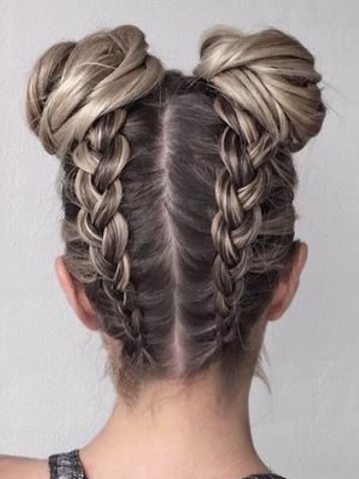 New Boxer Braids Into Buns I Love This Hairstyle Because It Looks So Cute Buns With Braids Hair Ideas With Pictures