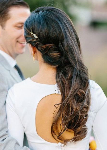 New Soft Curls Pinned Back To One Side Prom Wedding Hair Side Bridesmaid Hair Side Wedding Ideas With Pictures