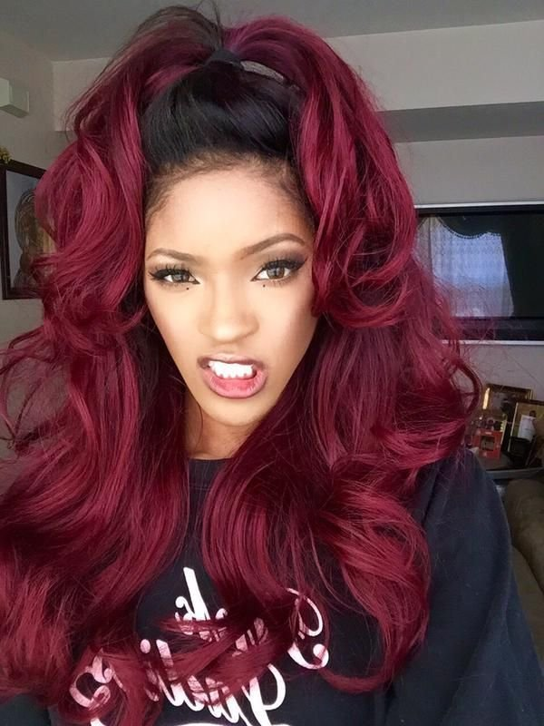 New Ombre Remy Human Hair 1B Burgundy Body Wave Bad Girls Ideas With Pictures