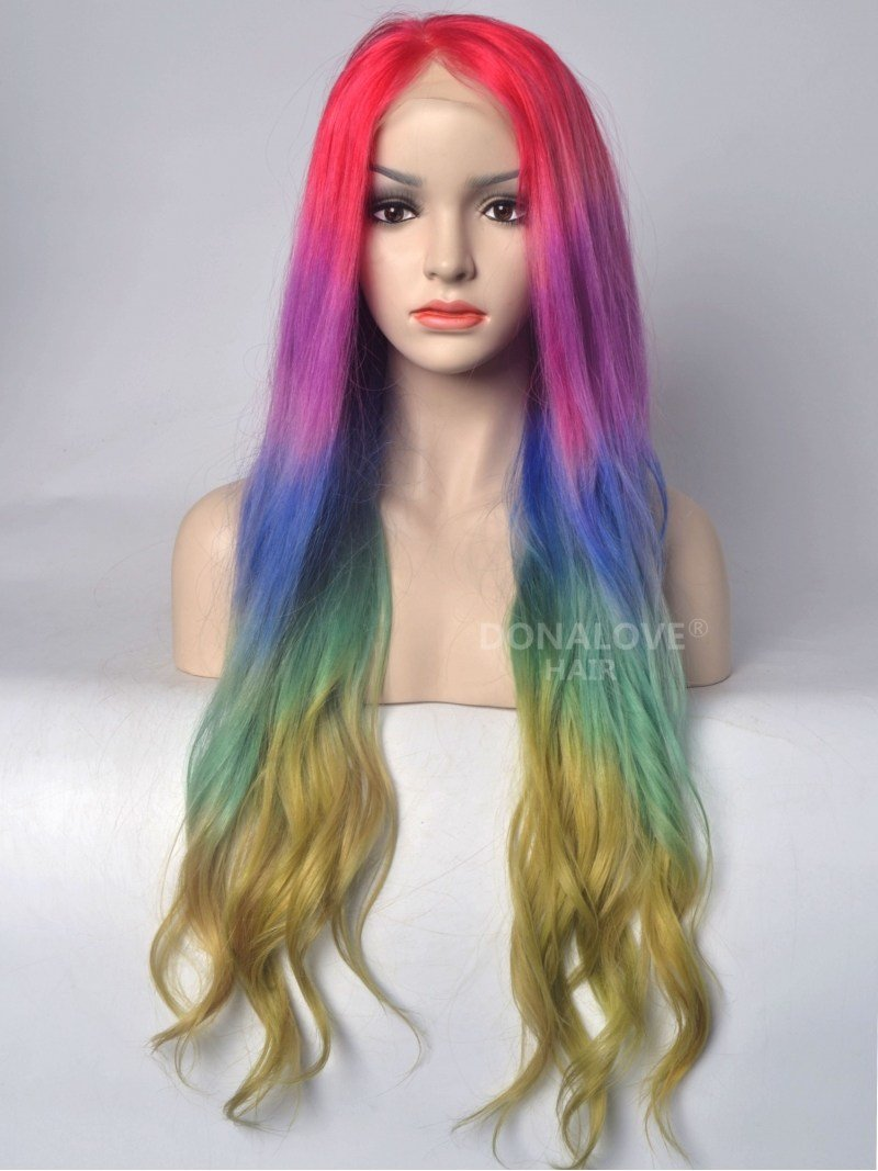New Rainbow Mermaid Colorful Lace Front Human Hair Wig Hh041 Ideas With Pictures