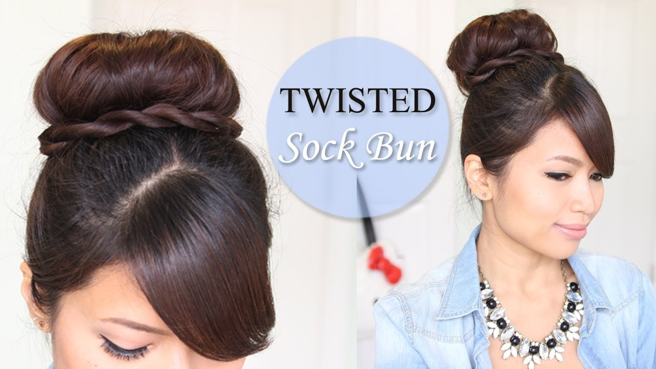 New Twisted Sock Bun Updo Hairstyle Long Hair Tutorial Youtube Ideas With Pictures