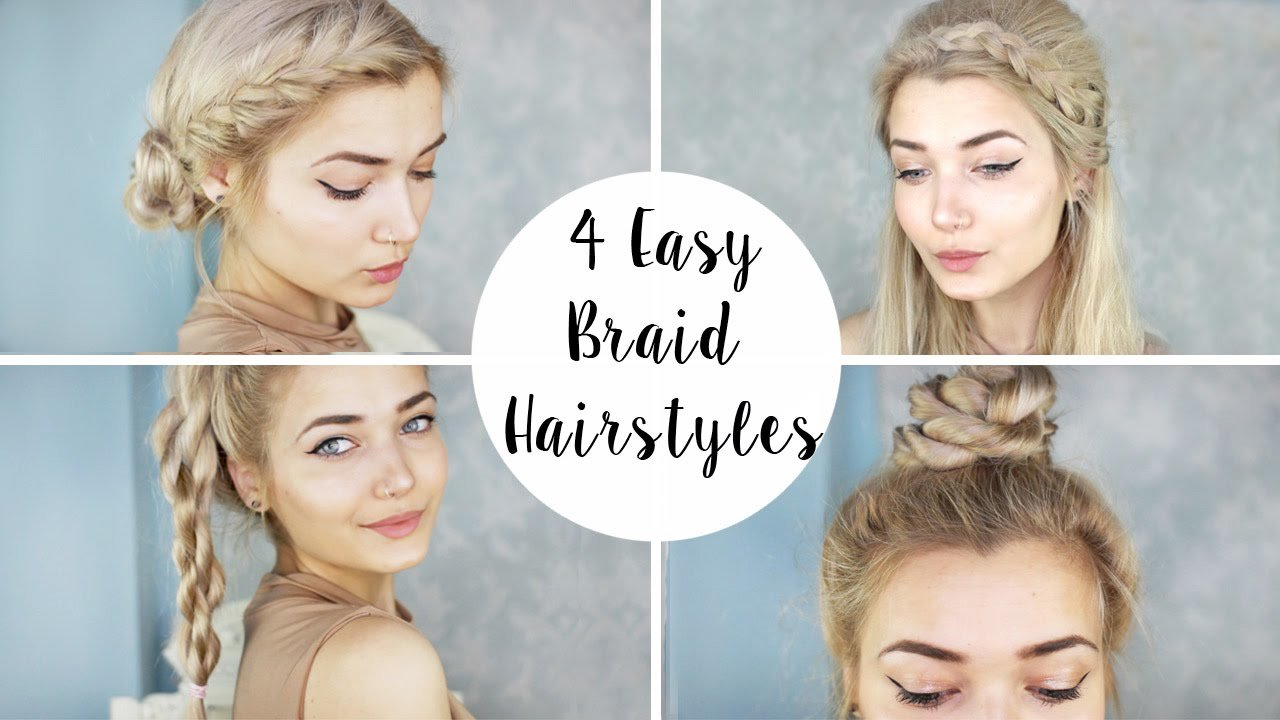 New 4 Cute Braid Hairstyles Quick Easy Youtube Ideas With Pictures