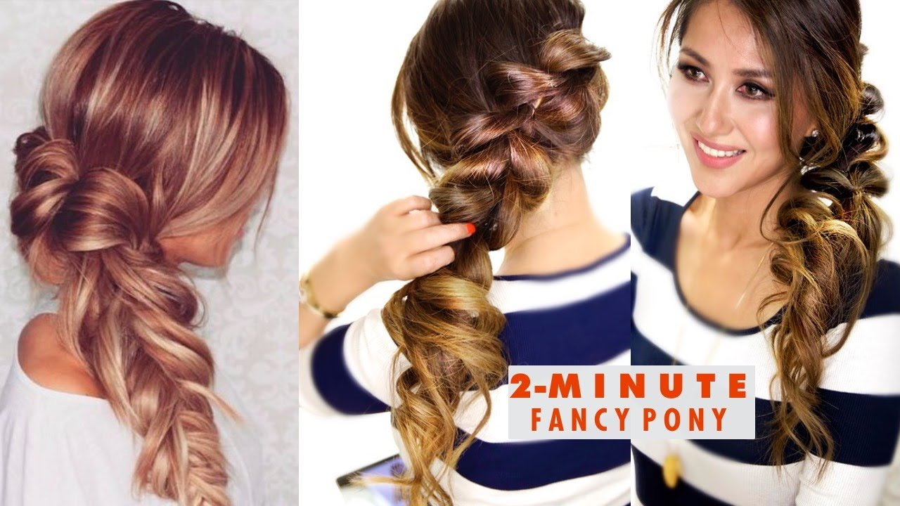 New 2 Minute Fancy Pony Braid Hairstyle ★ Easy School Ideas With Pictures