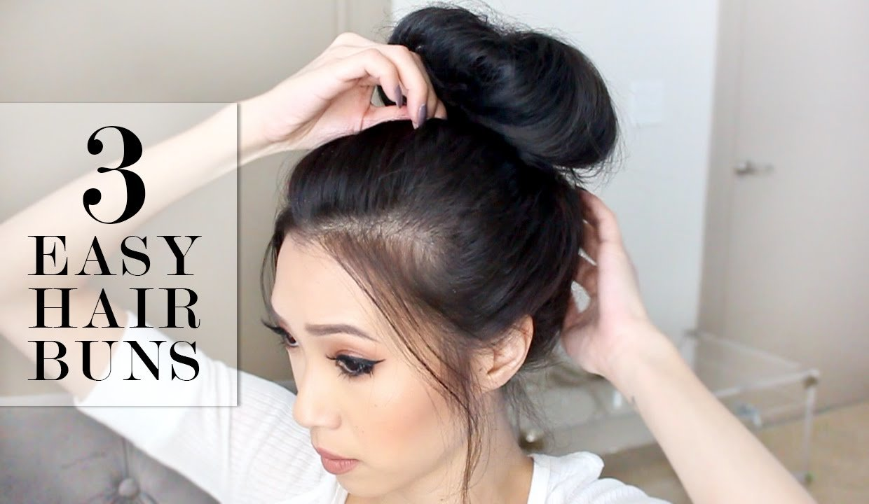 New 3 Easy Bun Hairstyles Lesassafras Youtube Ideas With Pictures