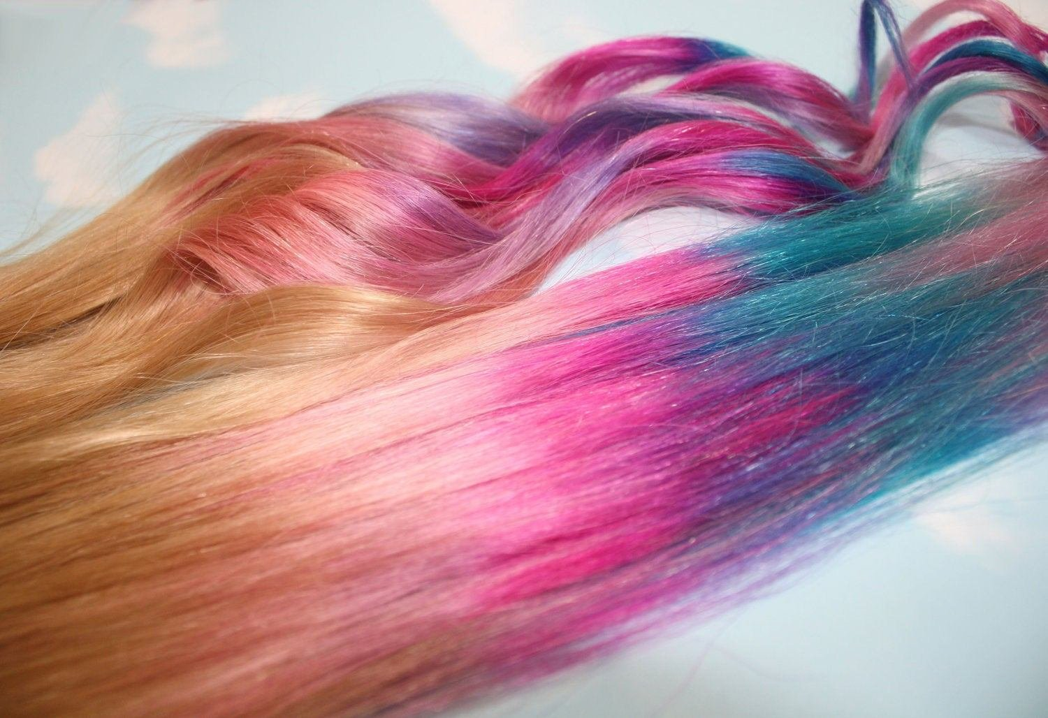 New Handmade Ombre Pastel Tie Dye Tips Human Hair By Cloud9Jewels Ideas With Pictures