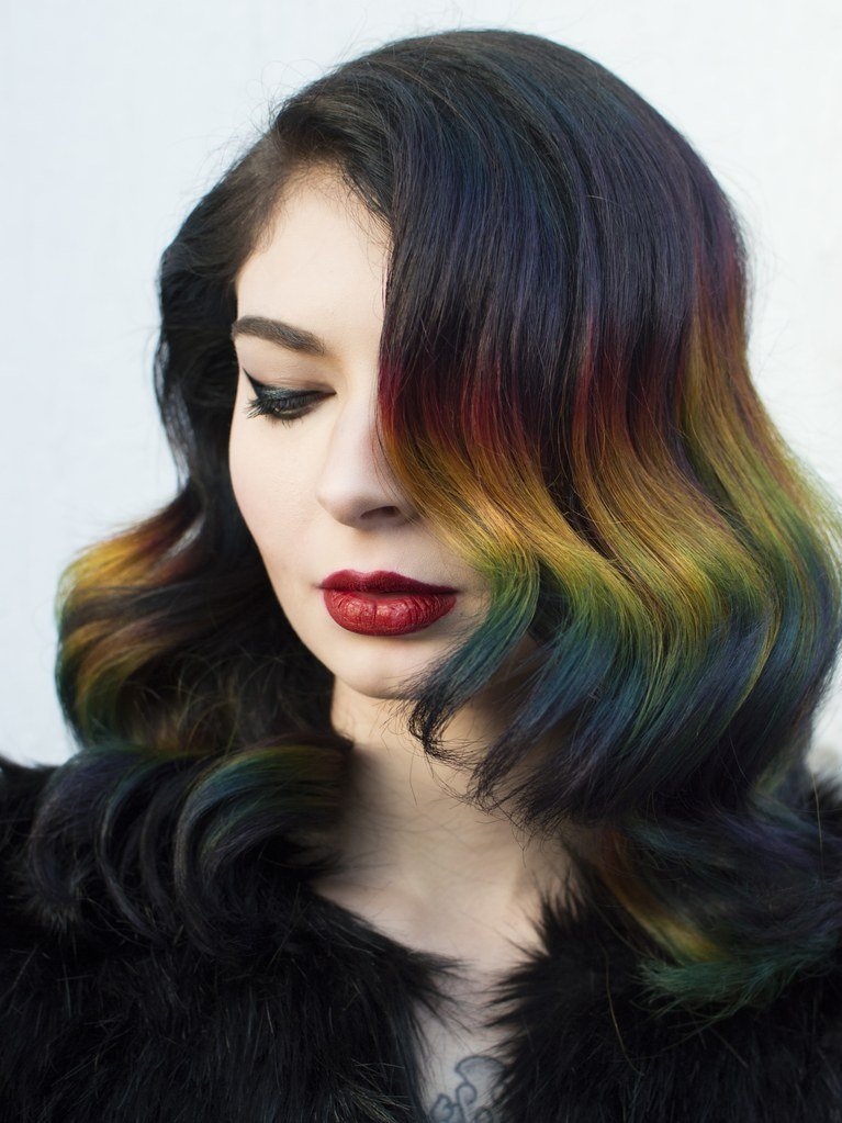 New Rainbow Ombré Hair Color Technique With Brunette Roots Ideas With Pictures