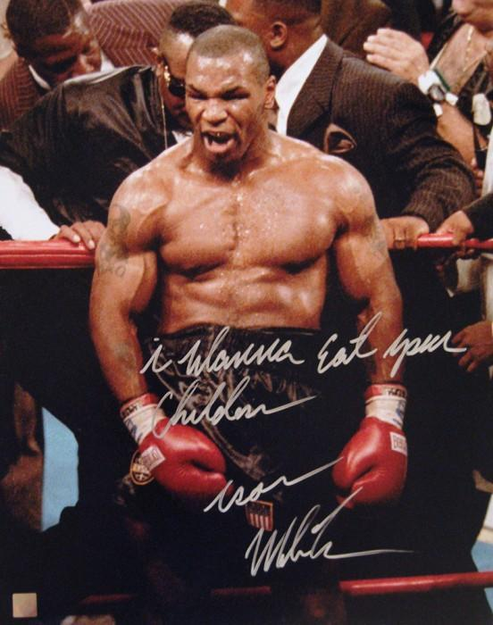 New Mike Tyson Signed 16X20 In Rage I Wanna Eat Your Children Ideas With Pictures