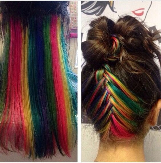 New Rainbow Hair Underneath Cuts Color I Iike Pinterest Ideas With Pictures