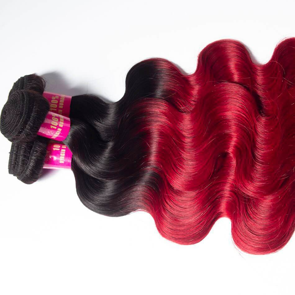 New Red Brazilian Body Wave Hair Ombre Burgundy 1B Color 3 Ideas With Pictures Original 1024 x 768