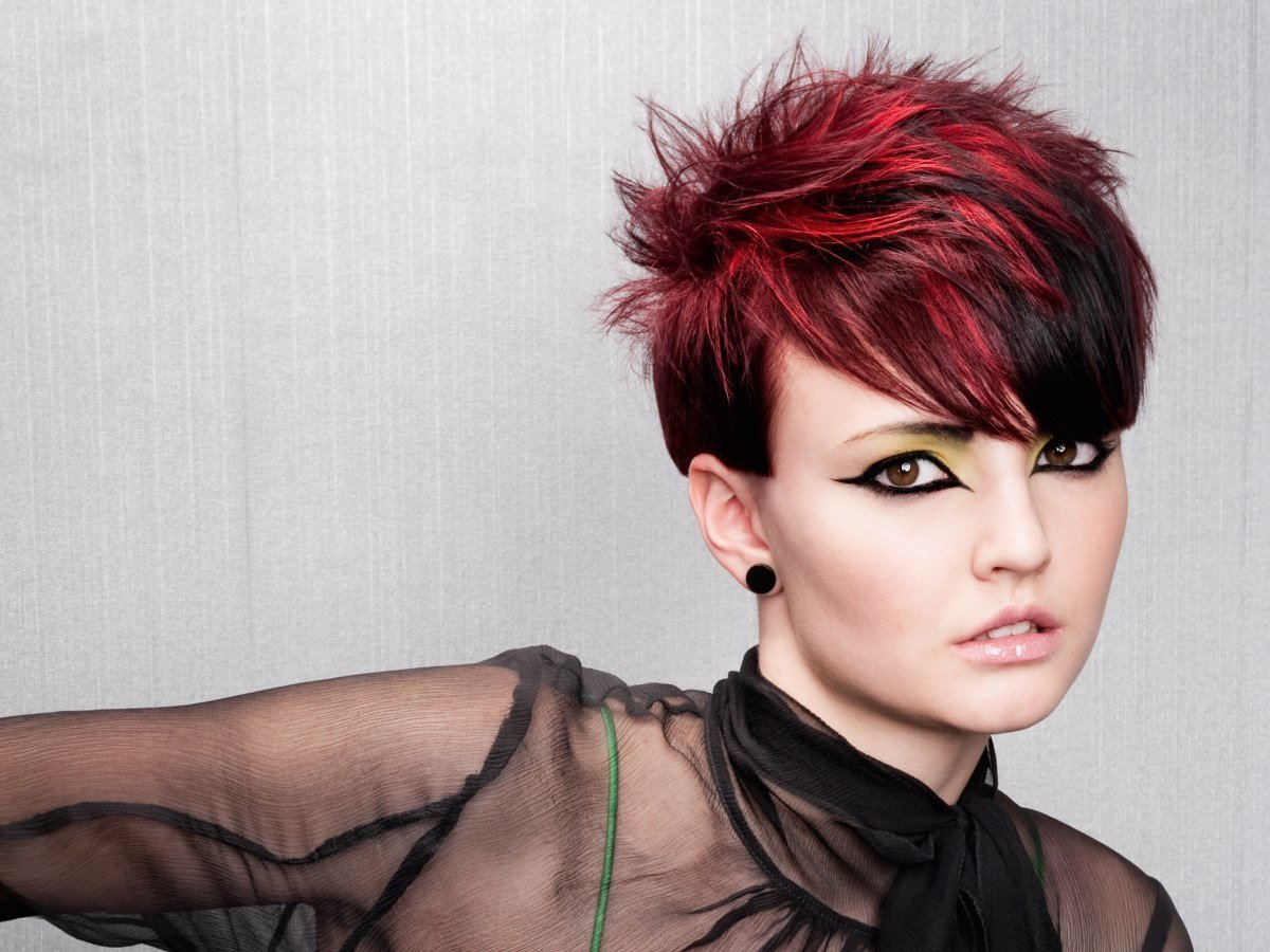 New Short Spiky Haircut With Daring Hair Color Contrasts Ideas With Pictures