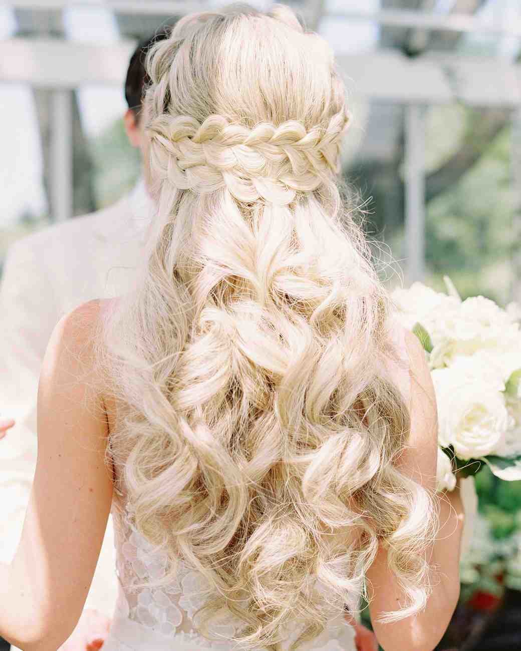 New 28 Half Up Half Down Wedding Hairstyles We Love Martha Ideas With Pictures