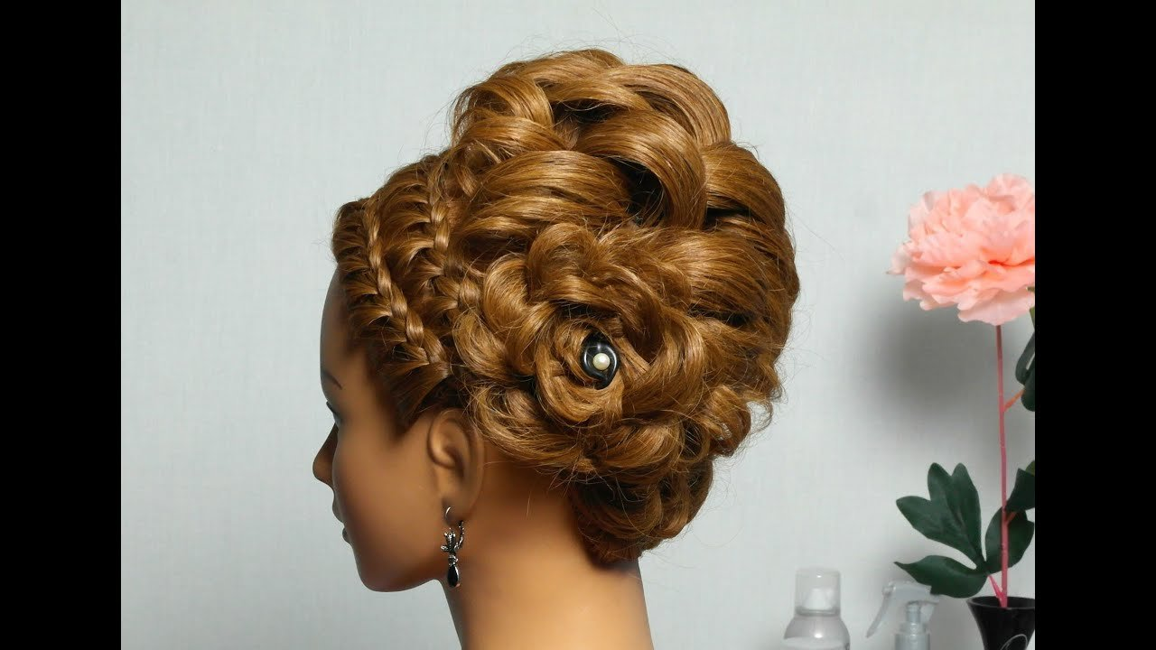 New Braided Updo Hairstyle For Medium Long Hair Youtube Ideas With Pictures